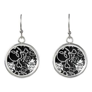 Graffiti skulls earrings