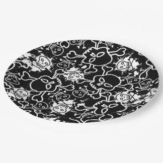 Graffiti skulls paper plate