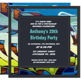 Graffiti Sky Letters Birthday Invitation