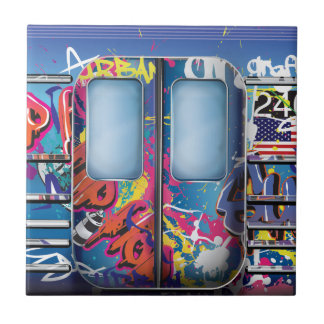 Graffiti Subway Train. Ceramic Tile