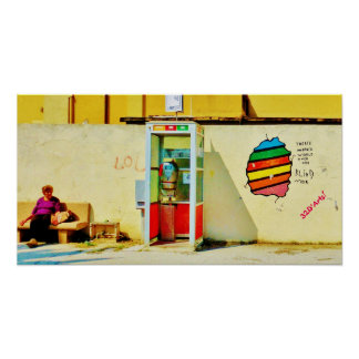 Graffiti Telephone Booth, Poster Print