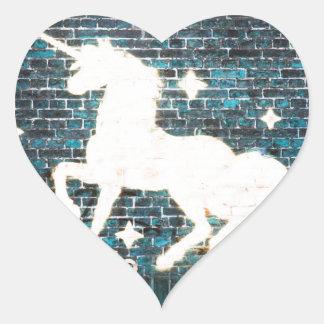 Graffiti Unicorn on Blue Brick Wall Heart Sticker