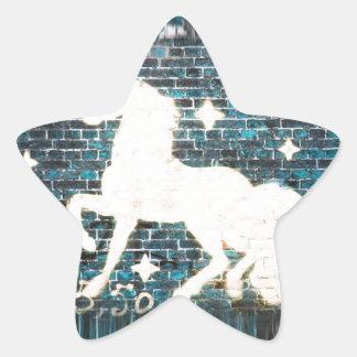 Graffiti Unicorn on Blue Brick Wall Star Sticker