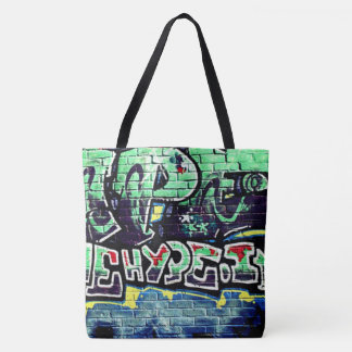graffiti wall green urban tote bag