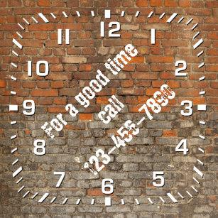 04c269e2ec3 Graffiti Worn Bricks Personalize Square Wall Clock