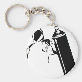 Graffiti writer with spray can stencil basic round button key ring