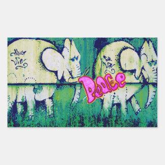 grafitti elephants rectangular sticker