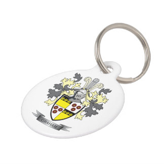 Graham Family Crest Coat of Arms Pet Name Tag