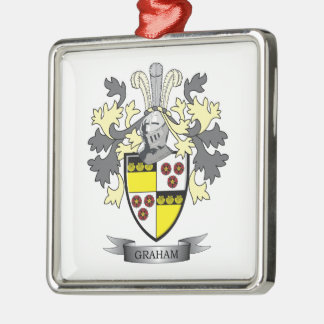 Graham Family Crest Coat of Arms Silver-Colored Square Decoration