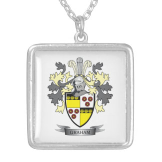 Graham Family Crest Coat of Arms Silver Plated Necklace