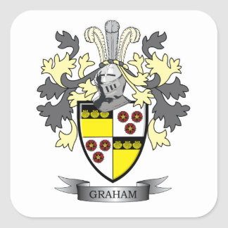 Graham Family Crest Coat of Arms Square Sticker