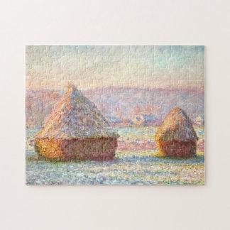 Grainstacks White Frost Monet Fine Art Puzzles