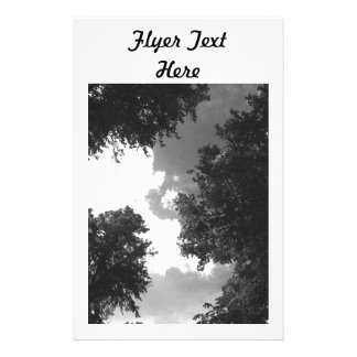 Grainy Black and White image of Trees and Sky. Flyer Design