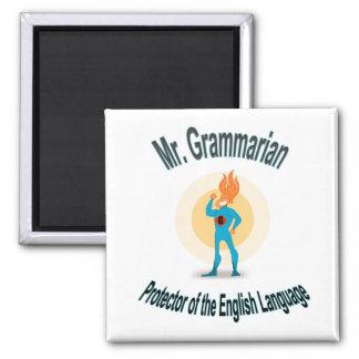 Grammar Fanatic Superhero Square Magnet