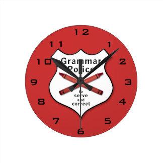 Grammar Police Badge Round Clock