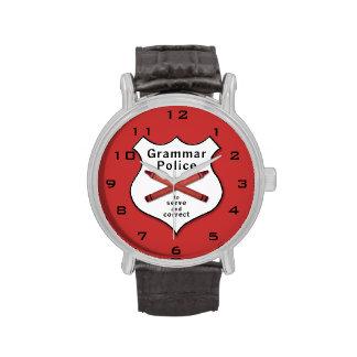 Grammar Police Badge Wristwatches