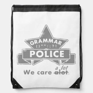 Grammar Police Drawstring Bag
