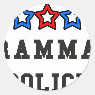 Grammar Police Round Stickers