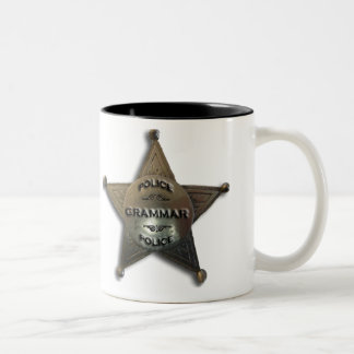 Grammar police vintage badge Two-Tone coffee mug