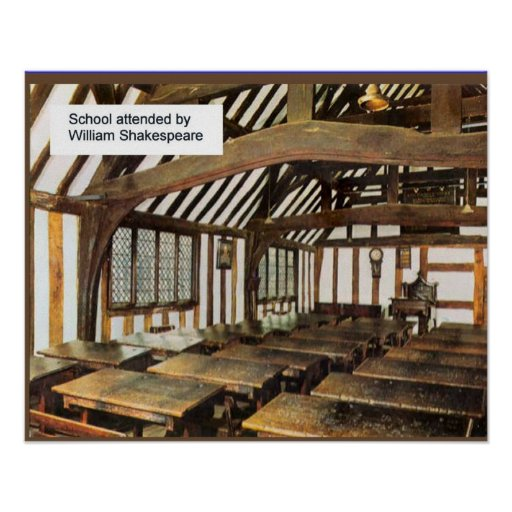 Grammar school attended by Shakespeare Print