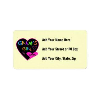 Gram's Girl Custom T-Shirts, Mugs, Buttons, Cases Address Label