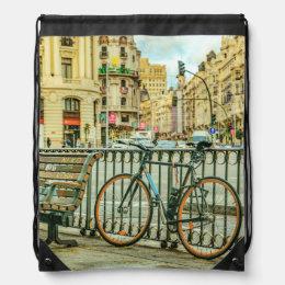 Gran Via Street, Madrid, Spain Drawstring Bag