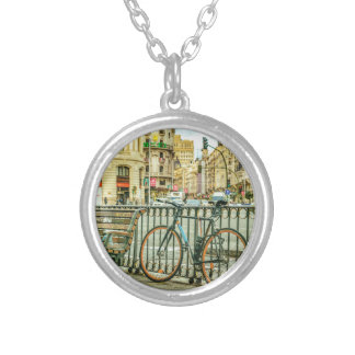 Gran Via Street, Madrid, Spain Silver Plated Necklace