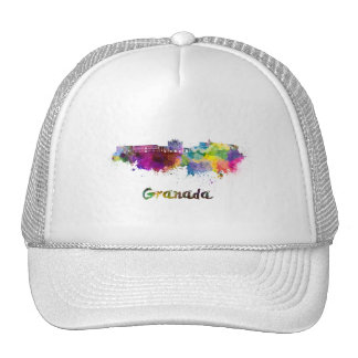 Granada skyline in watercolor cap