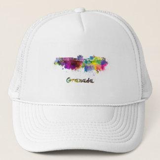 Granada skyline in watercolor trucker hat