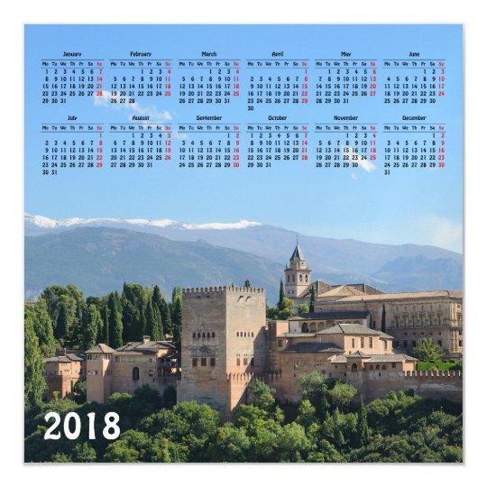 Granada, Spain 2018 calendar magnetic card