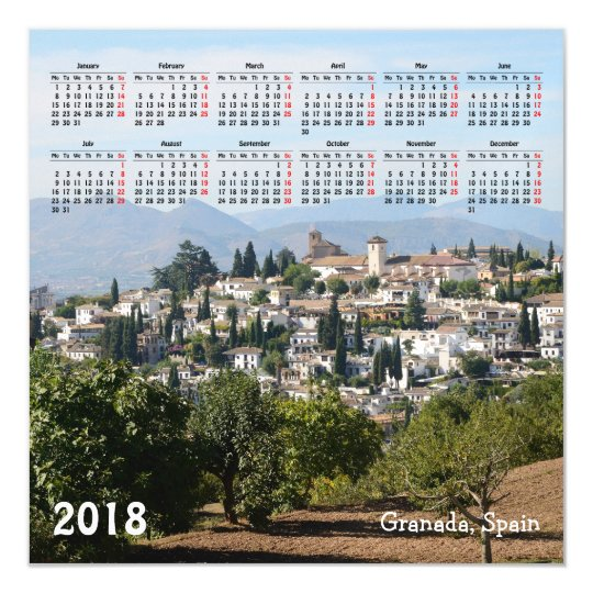 Granada, Spain 2018 calendar magnetic card