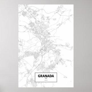 Granada, Spain (black on white) Poster