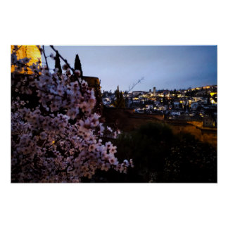 Granada's Albayzin seen from The Alhambra's almond Poster