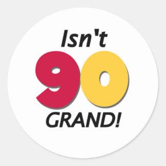 Grand 90th Birthday Round Sticker