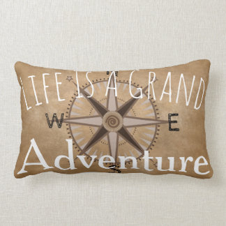 Grand Adventure Typography & Compass Lumbar Pillow