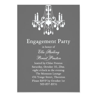 Grand Ballroom Engagement Party Invitation (gray)