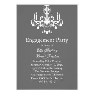 Grand Ballroom Engagement Party Invitation (grey)