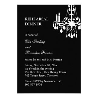 Grand Ballroom Rehearsal Dinner Invitation black Personalized Invite