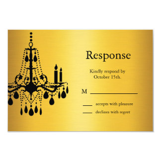 Grand Ballroom RSVP (gold and black) 3.5x5 Paper Invitation Card