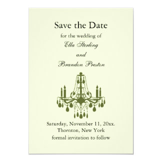 Grand Ballroom Save the Date (green) 5x7 Paper Invitation Card