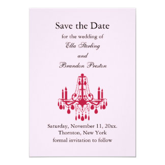 Grand Ballroom Save the Date (red) 5x7 Paper Invitation Card