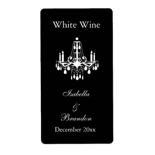 Grand Ballroom Wedding Wine Label (black)