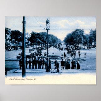 Grand Boulevard, Chicago, Illinois Vintage Poster