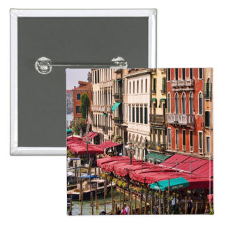 Grand Canal of Venice Italy with gondola boats 15 Cm Square Badge