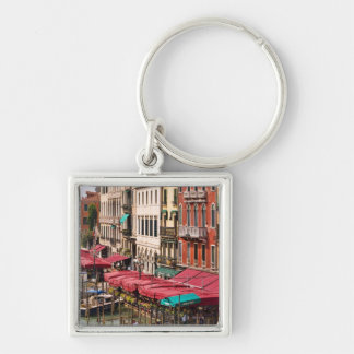 Grand Canal of Venice Italy with gondola boats Silver-Colored Square Key Ring