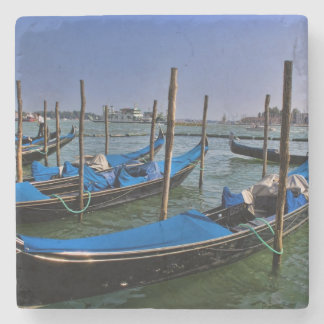 Grand Canal water with gondalo boats lined up Stone Coaster