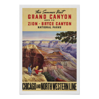 Grand Canyon, America - Vintage Travel Poster