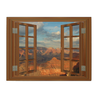 Grand Canyon Fake Faux Window View USA Wood Wall Decor