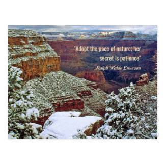 Grand Canyon in Winter with Emerson Quote Postcard