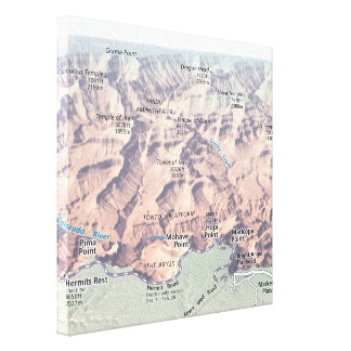 Grand Canyon South Rim map canvas print